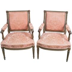 "Pair of Louis XVI Style Fauteuils ""Open Armchairs,"" France, circa 1850"