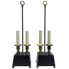 Pair of Parzinger-esque Wood and Brass Table Lamps with Trapezoid Bases
