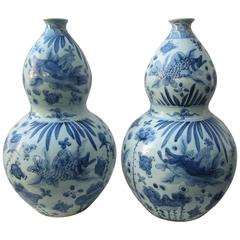 Large Pair of Chinese Blue and White Gourd Vases
