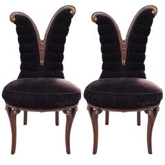Pair of Mahogany Art Deco Side Chairs