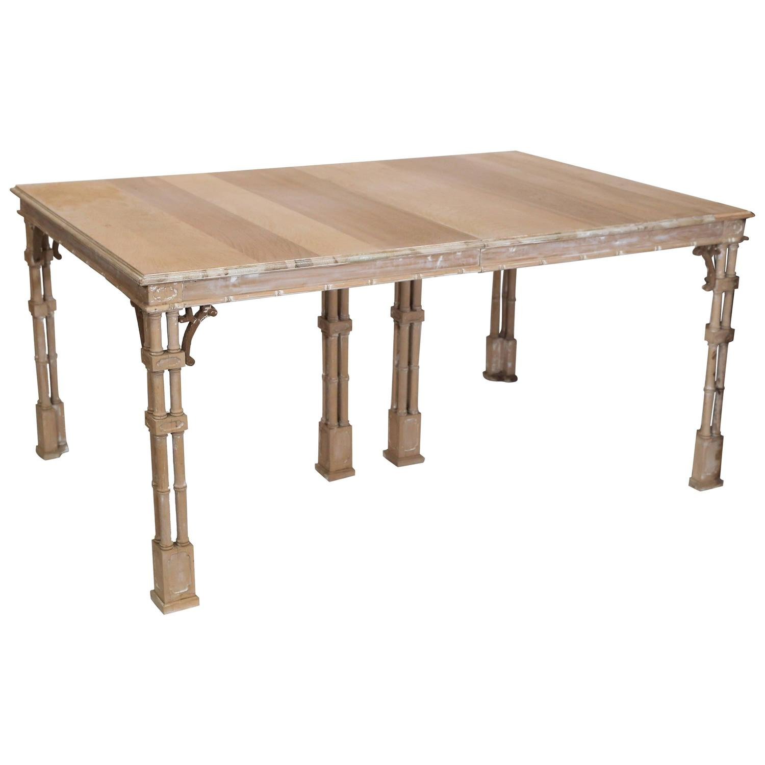 Vintage stripped chinese chippendale style dining table at for Oriental dining table
