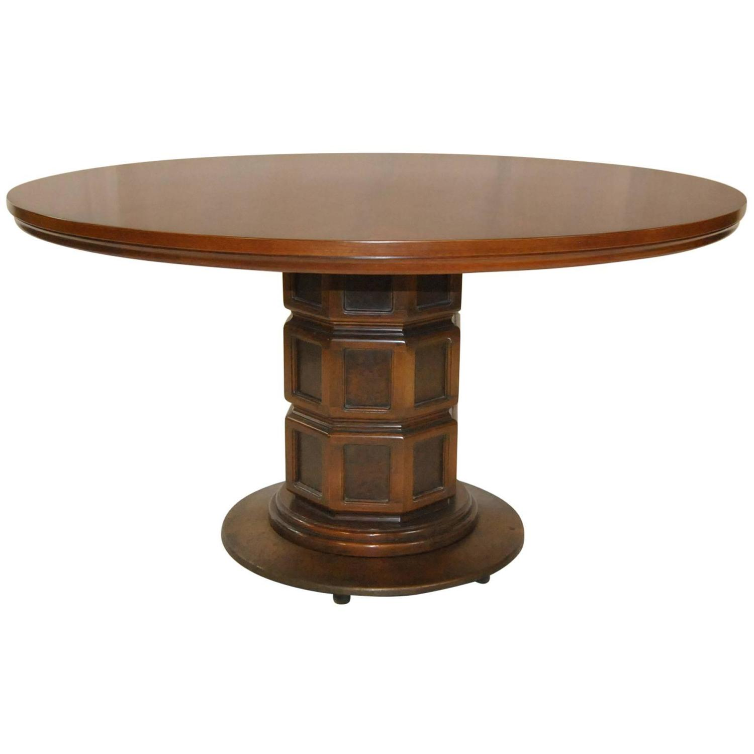 John Widdicomb Walnut Round Pedestal Base Table At 1stdibs
