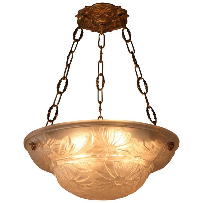 French art deco glass pendant light at 1stdibs Artisan glass pendant lights