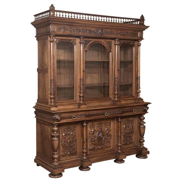 19th Century French Walnut Renaissance Bookcase