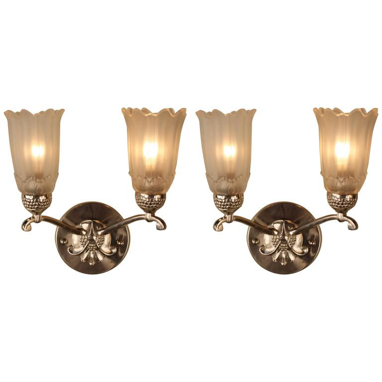 Pair of French Glass and Nickel Art Deco Wall Sconces