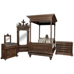 19th Century French Antique Renaissance Four-Piece Hand Carved Oak Bedroom Suite