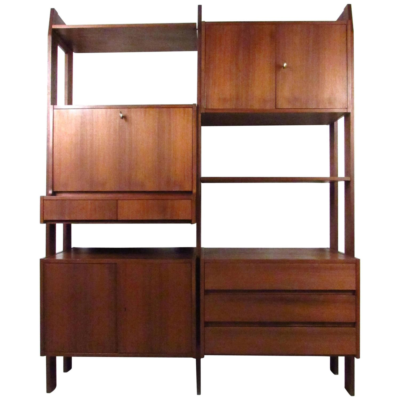 midcentury modern modular wall unit for ello edmund spence blonde wood swedish modern hanging bookcase w glass sliding doors 1