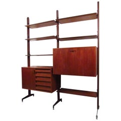 Mid-Century Modern Italian Teak Wall Unit Bookshelf