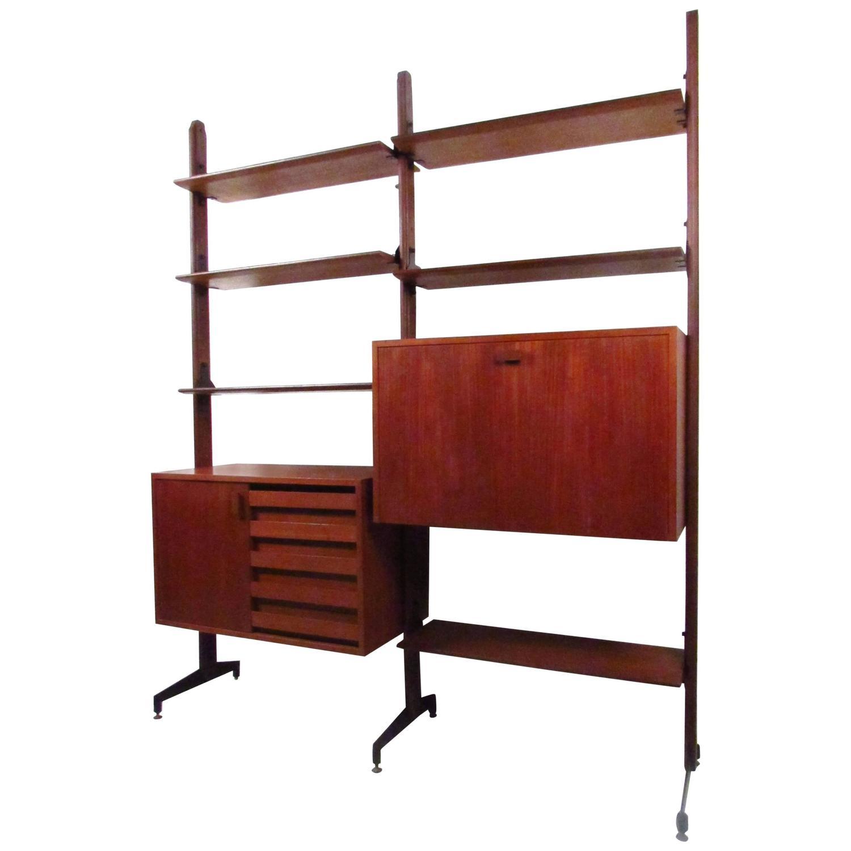 Mid century modern italian teak wall unit bookshelf for sale at 1stdibs - Modern bookshelf wall unit ...