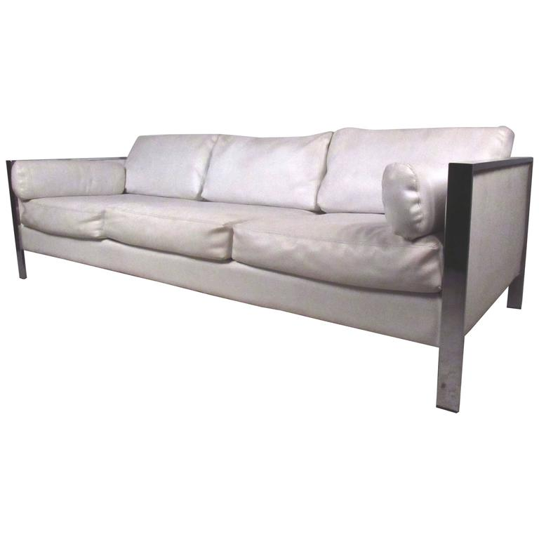 Vintage Modern Chrome Frame Sofa after Milo Baughman
