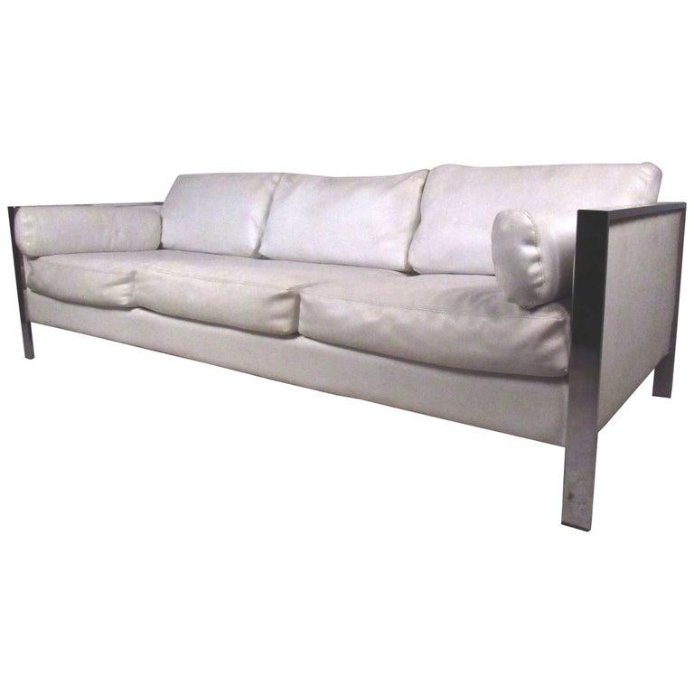Vintage Modern Chrome Frame Sofa after Milo Baughman For Sale