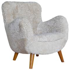 Danish 1940s Lounge Chair in Sheepskin