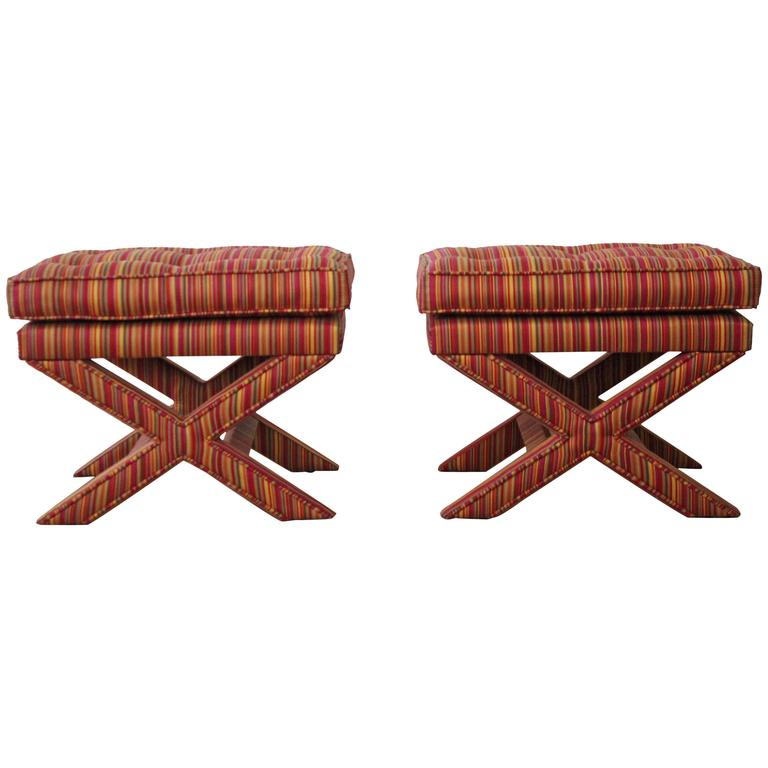 Pair of Mid-Century Modern X-Base Billy Baldwin Benches Footstools