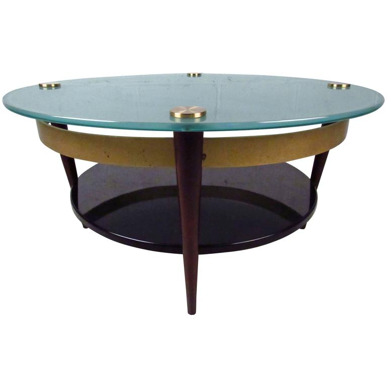 Unique mid century floating top glass and brass coffee for Creative table tops