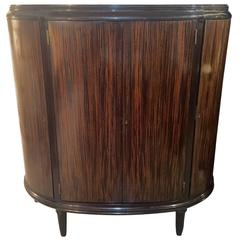 Zebra Wood Veneer Deco Demilune Cabinet