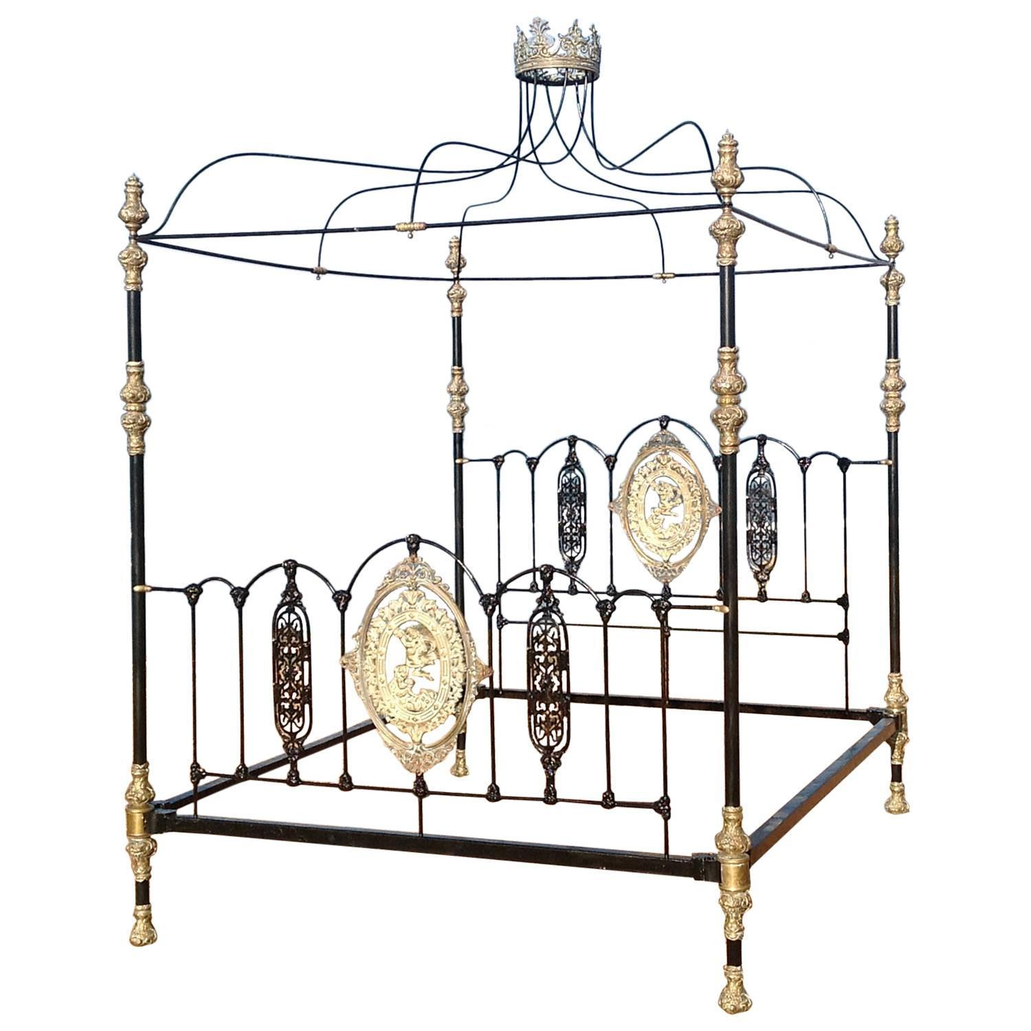 four poster bed with canopy and crown m4p14 at 1stdibs