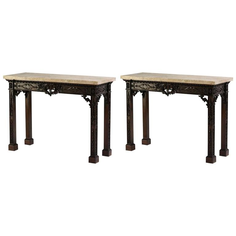 Fret Pier Tables in the Chippendale manner For Sale