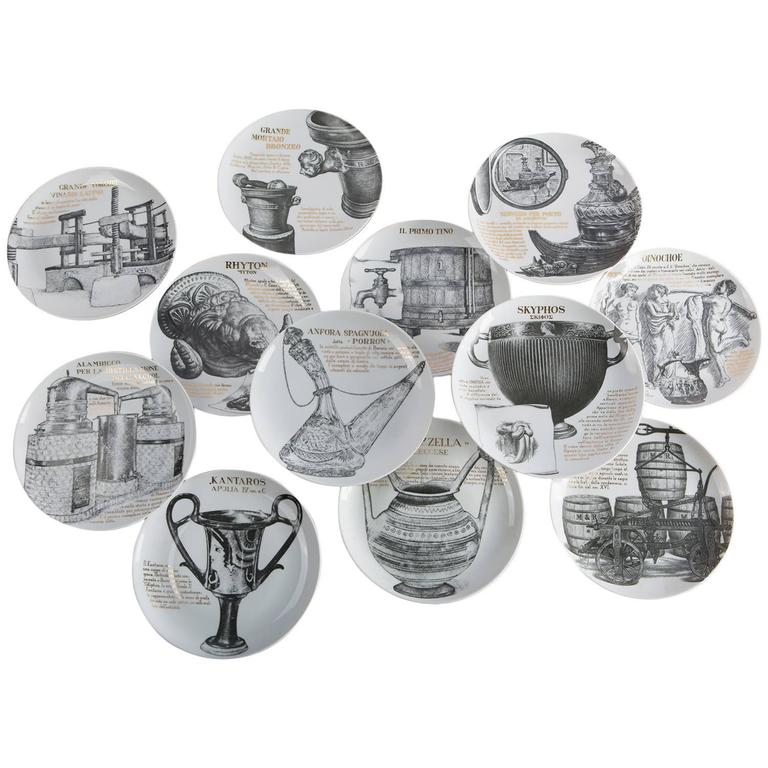 Set of 12 Fornasetti Plates for Martini & Rossi