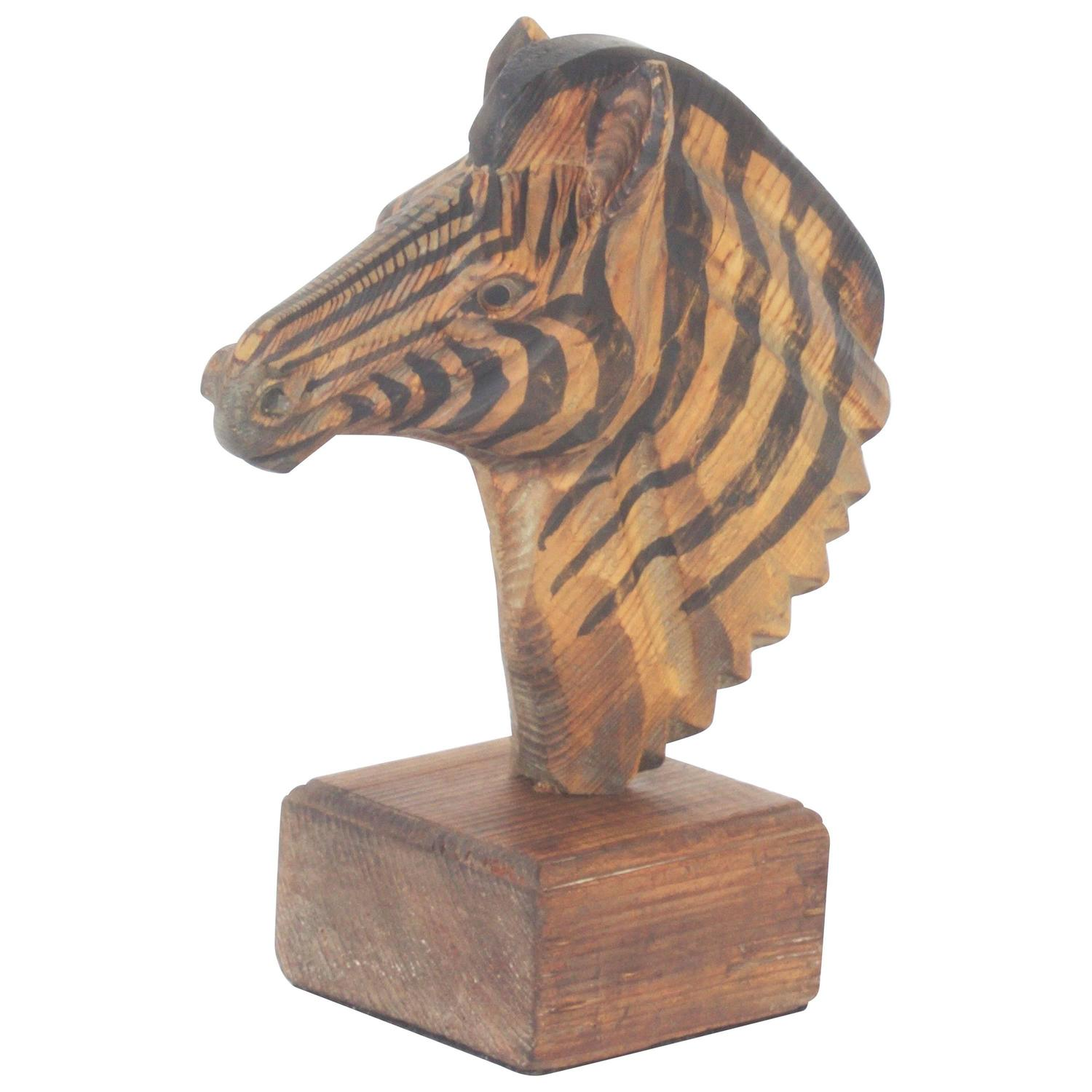 Naturalist Midcentury Carved Wood Sculpture Of A Zebra