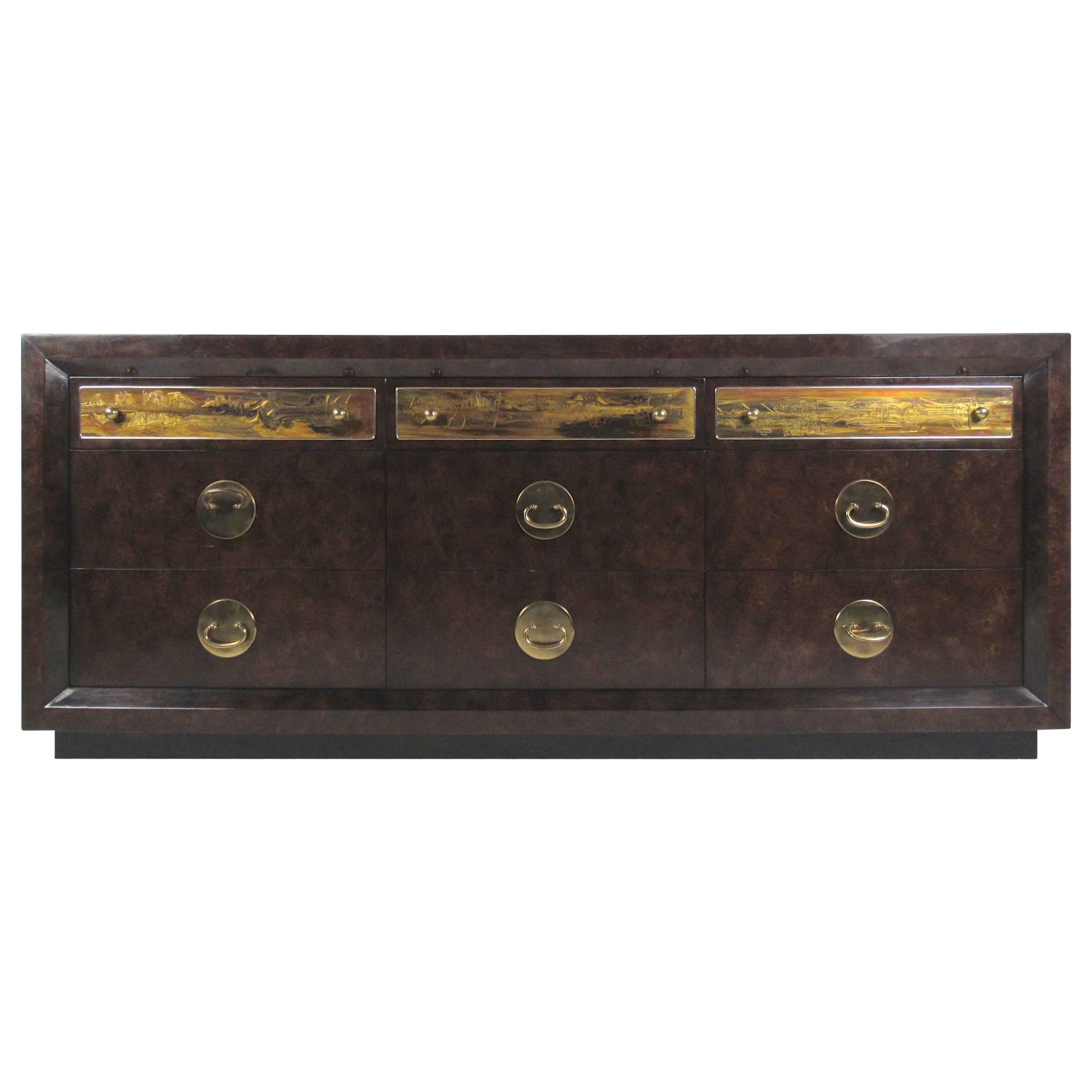 Brass and Burl Wood Dresser for Mastercraft by Bernhard Rohne