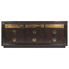 Brass and Burl Wood Dresser for Mastercraft by Bernhard Rohne