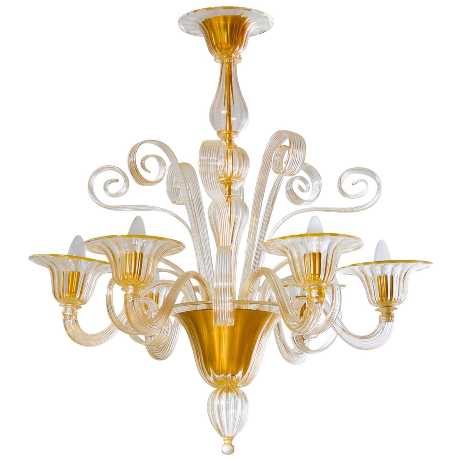 Italian Venetian Chandelier in Blown Murano Glass, Gold Pastorals, 1990s