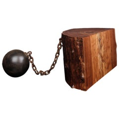 """Ball and Chain"" Table in American Elm and Steel by Studio Roeper"