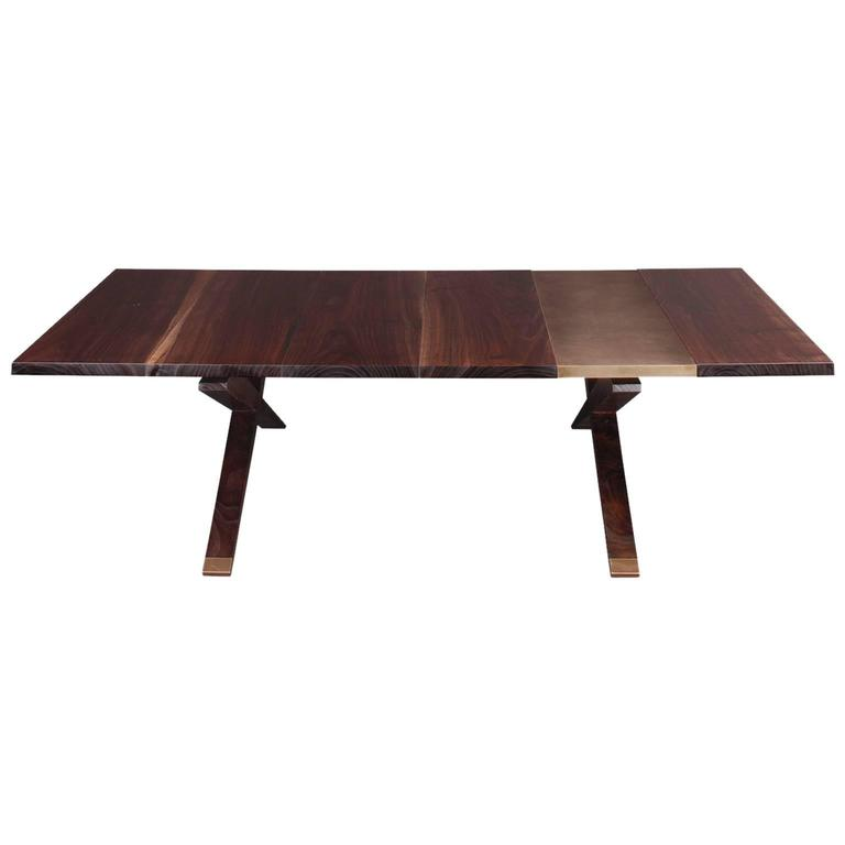 """Hollywood"" Coffee Table in Smoked Walnut and Etched Bronze by Studio Roeper"