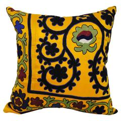 Hand Embroidered Silk or Cotton Uzbekistan Textile Pillow