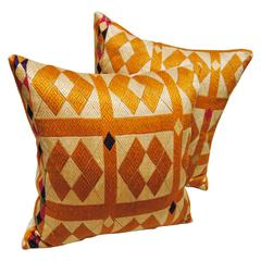 Golden Silk Embroidered Phulkari Bagh Pillows, Punjab, India