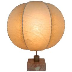 Mid Century Castiglioni Style Cocoon Table Lamp on Marble Base
