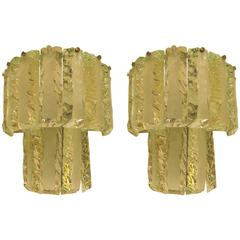 Pair of Italian 1950s Crystal Hammered and Sanded Wall Light by Cristalart