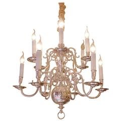 Late 18h Century Dutch Baroque Silver Plate Chandelier
