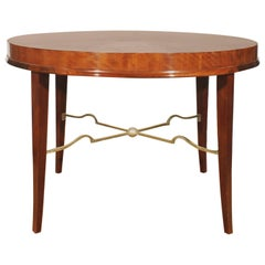1940s Round sidetable by De Coene, mahogany, gilded spacer - Belgium