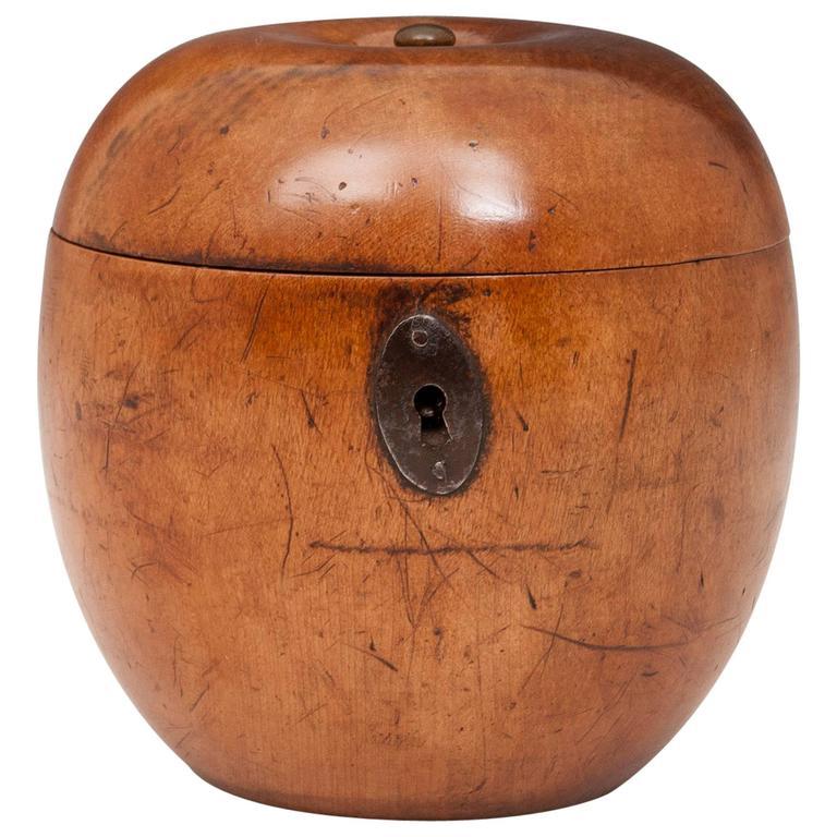 Antique Treen Apple Fruitwood Tea Caddy
