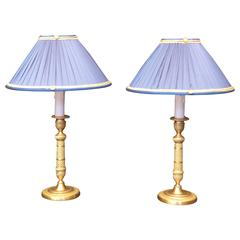 Pair of French Empire Period Gilt-Bronze Candlestick Lamps