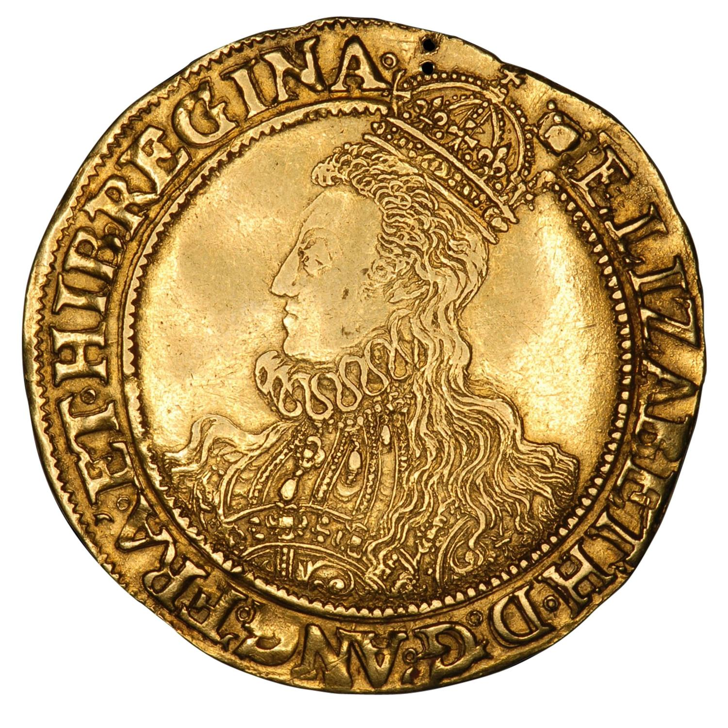 Medieval Gold Pound Coin of Queen Elizabeth I - 1594 at