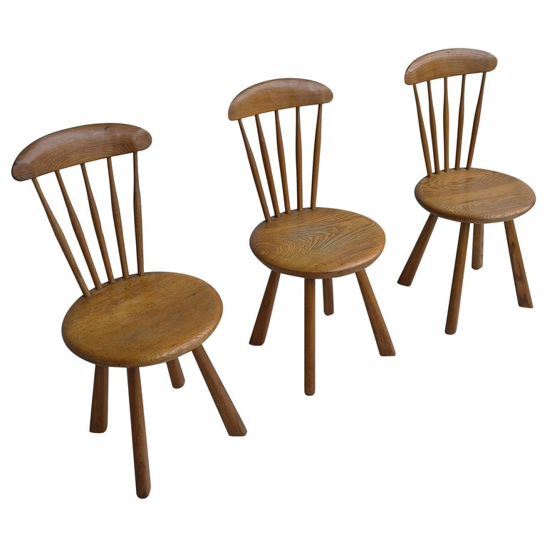 Solid pine side chairs, France 1950's For Sale