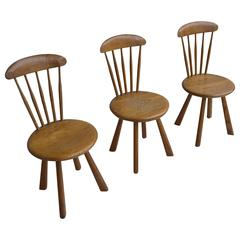 Solid pine side chairs, France 1950's