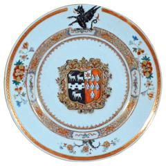 A Chinese Export Armorial Dish, Arms are of Mann impaling Guise.