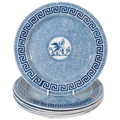 Set of a Dozen Blue and White Neo Egyptian Dishes with Sphinx and Greek Key