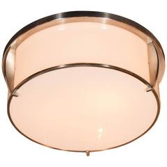 Art Deco Polished Nickel and White Glass Flush Mount Chandelier by Jean Perzel
