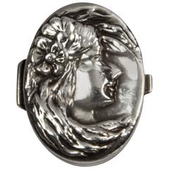 Figural Lady's Face Sterling Snuff Pill Box Case