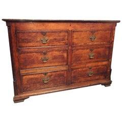 Georgian English Oak Mule Chest or Dresser with Mahogany Banding