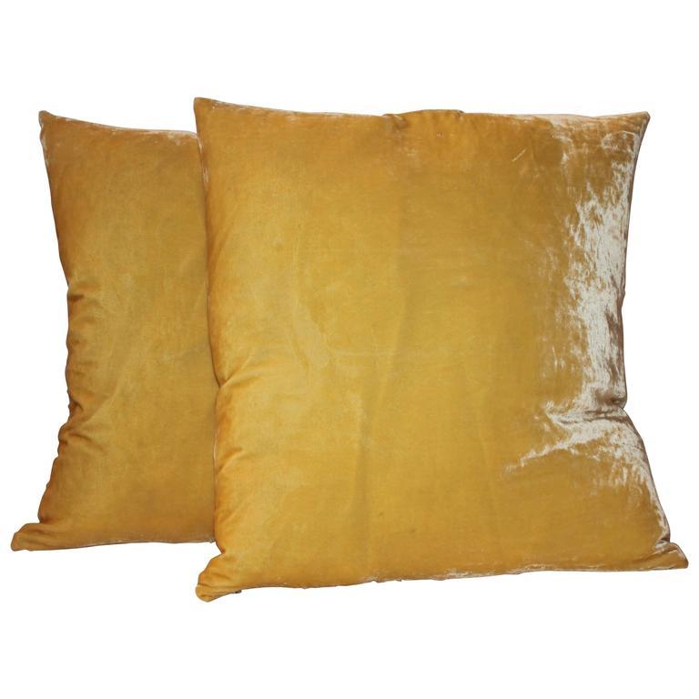 Pair of Golden Yellow Velvet Pillows
