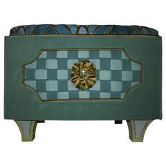"""Jewel Box"" Ottoman with woven fabric checker board center covered in Velvet"