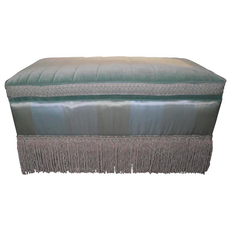 Ottoman, Cocktail Table Size in Cotton/Silk Blue and Green Stripe