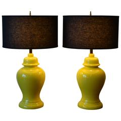 Pair of Mid Century Modern Ginger Jar Ceramic Table Lamps, Vibrant Yellow