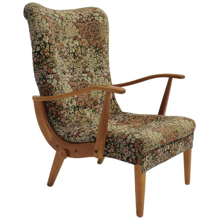 Multicolored Mid Century Modern Lounge Chair with Flower Design Fabric 1950s