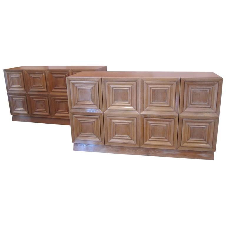 Cerused French Oak Kitchens And Cabinets: Large Pair Of Cerused Oak Cabinets, France 1940's For Sale